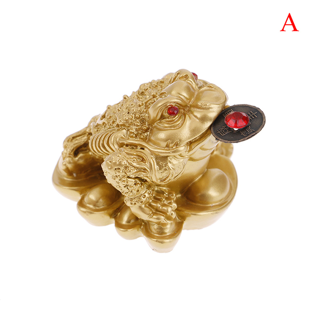1PCS Lucky Gift Wealth Chinese Feng Shui Money Frog Toad Coin Ornaments For Frog Toad Coin Home Office Decoration Ornaments 5