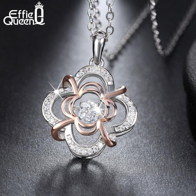 Effie Queen 100% 925 Sterling Silver Material Women Necklace Jewelry Flicker Cubic Zircon Pendants & Necklaces BN14