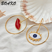 Korean Sexy Lip Evil Eye Gold Loop Drop Earrings Asymmetric Long Dangle for Women Punk Party Fashion Jewelry
