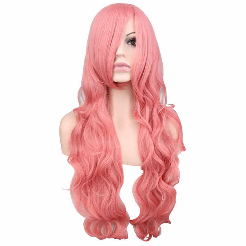 QQXCAIW длинные волнистые косплэй черный фиолетовый белый красный розовый синий блондинка оранжевый Щепка серый 80 см синтетические волосы