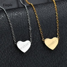 Eleple Exquisite Titanium Steel Cute Love Necklaces Lady Heart Pendant Anniversary Party Gifts Clavicle Chain Factory S-N808
