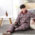 Мужчины Пижамы Зимой 2017 Осень мужской толстые фланелевые пижамы установить с длинным рукавом плюс размер случайный гостиная синий гэри горячий продажа