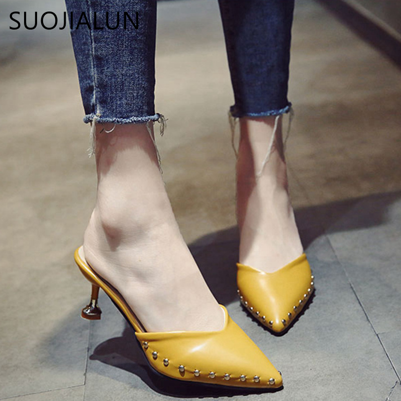 SUOJIALUN 2018 Spring New Fashion Slides Woman Shoes Sexy Thin High Heels Pointed toe Mules Shoes Ladies Female Sandals new 2017 spring summer women shoes pointed toe high quality brand fashion womens flats ladies plus size 41 sweet flock t179
