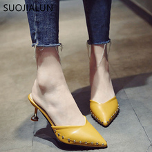 SUOJIALUN 2018 Spring New Fashion Slides Woman Shoes Sexy Thin High Heels Pointed toe Mules Ladies Female Sandals