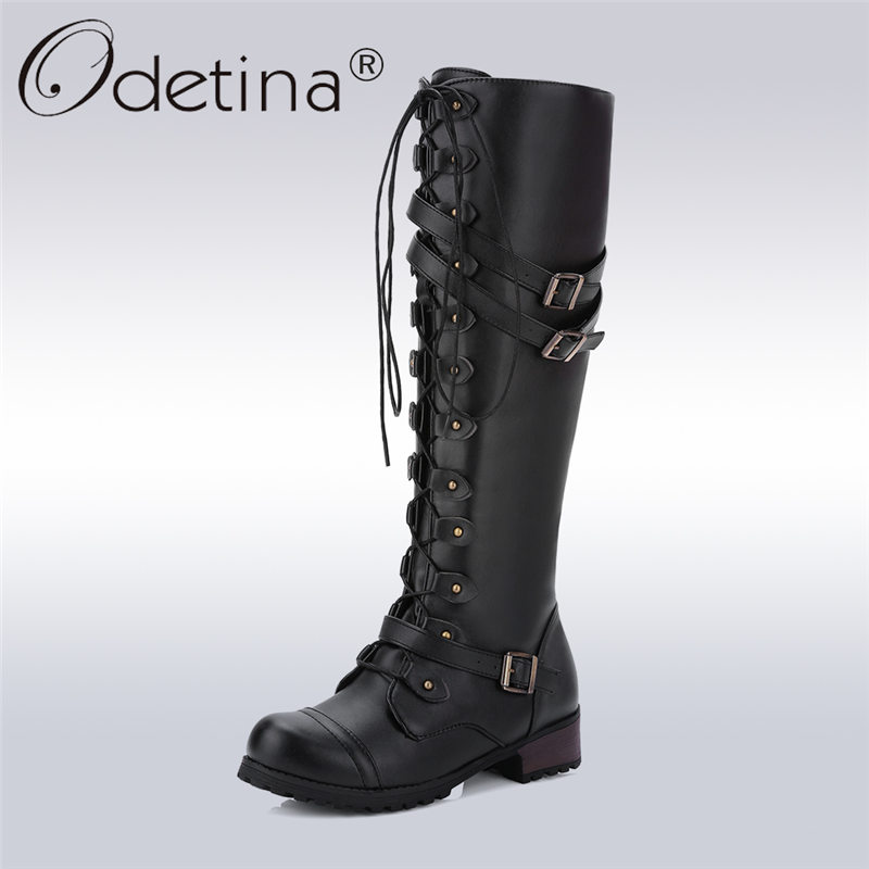 Odetina 2017 Fashion Women Lace Up Riding Boots Chunky Low Heel Knee High Boots Buckle Side Zipper Up Winter Shoes Plus Size 43 gcr15 6330 zz or 6330 2rs 150x320x65mm high precision deep groove ball bearings abec 1 p0
