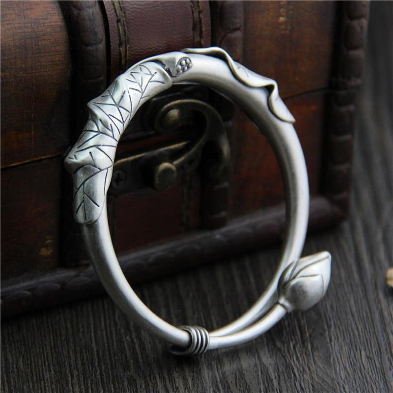 C&R Real 990 Sterling Silver bangles for women bracelets Matte lotus leaf bracelet ladies vintage Fine Jewelry Adjustable стоимость