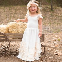 Girls Chiffon Ruffles Maxi Dresses Lace Flower Cap Sleeves Cotton Layers Pageant Bridesmaid Party Boho