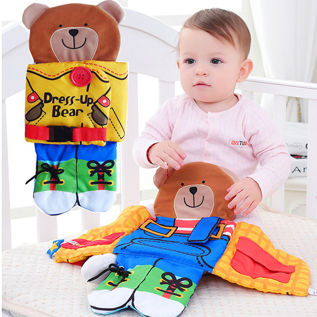 Bear wear Soft cloth button Baby Cloth Zipper Bebe Book Learning&Education Infant  Appease Quiet Book for Kids childrern