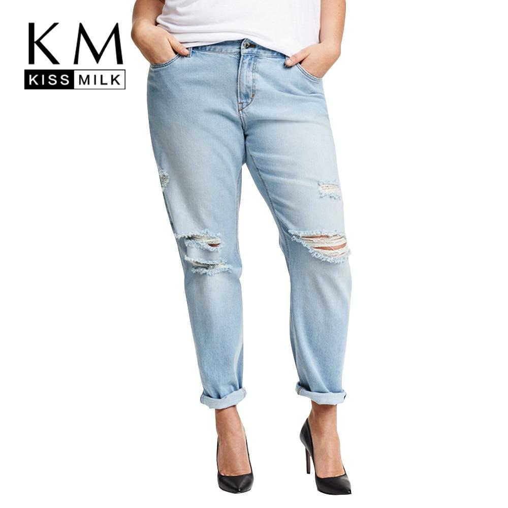 Kissmilk Plus גודל 2018 חדש אופנה נשים הלבשה מקרית מוצק חור שבור נקבה לחצן ג'ינס ארוך 3xl 4xl 5xl 6xl