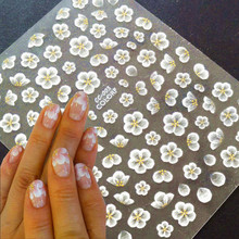 Newest CC-1 2 3 flower design 3d nail stickers back glue nail decals template DIY nail decoration wraps cc diy y004