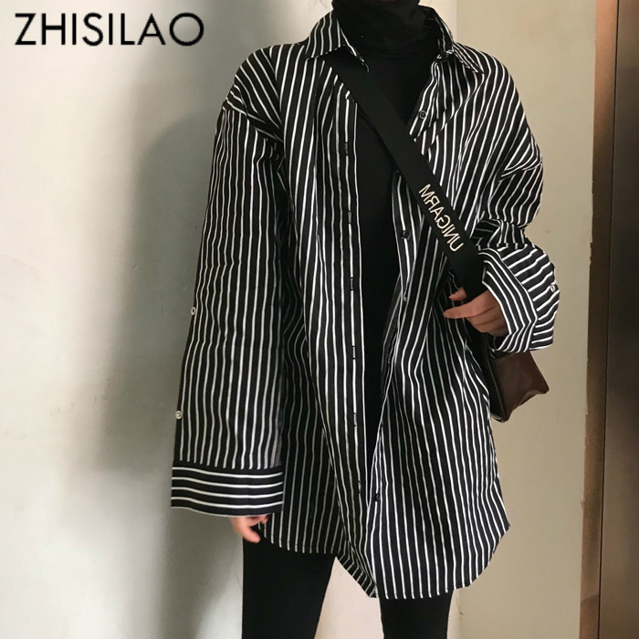 ZHISILAO Oversize Stripe Black Blouse Plus Size Shirts Ladies Maxi Loose Blouse Vintage Woman Top Streetwear Autumn