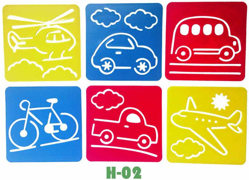 6pcs lot car bike vechile transport drawing template stencil kids art stencils drawing board kindergarten arts 14x15cm 18 design drawing toys aliexpress 6pcs lot car bike vechile transport