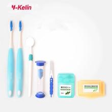 2017 NEW Y-Kelin Orthodontics Care Kit Teeth Whitening Kit Orthodontic Toothbrush Interdental Brush Dental Floss Mouth Mirror цена