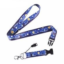Модный ремешок для мобильного телефона, звездная ночь, ремешок для удостоверения личности, держатель Бейджа, для спортзала, мобильного телефона, USB, держатель Бейджа, ремешки на шею