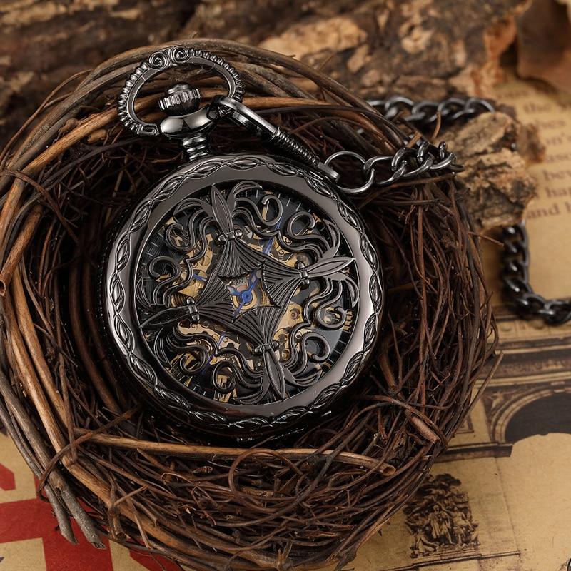 Vintage Cross Engraved Hand Wind Mechanical Pocket Watch Men Hollow Skeleton Black Steampunk Neckalce Fob Unisex Watch Pendant