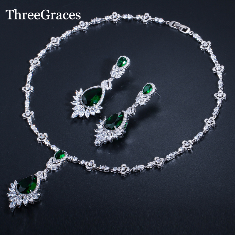 ThreeGraces Brilliant Vintage Women Wedding Party Jewelry Green CZ Crystal Earrings Long Big Dangle Pendant Necklace Set JS222