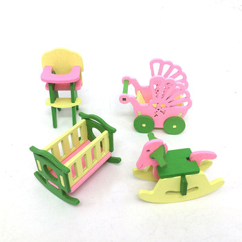 1:12 Dollhouse Miniature Furniture Wooden Creative Bathroom Bedroom Restaurant For Kids Action Figure Doll House Decoration Doll - 90582