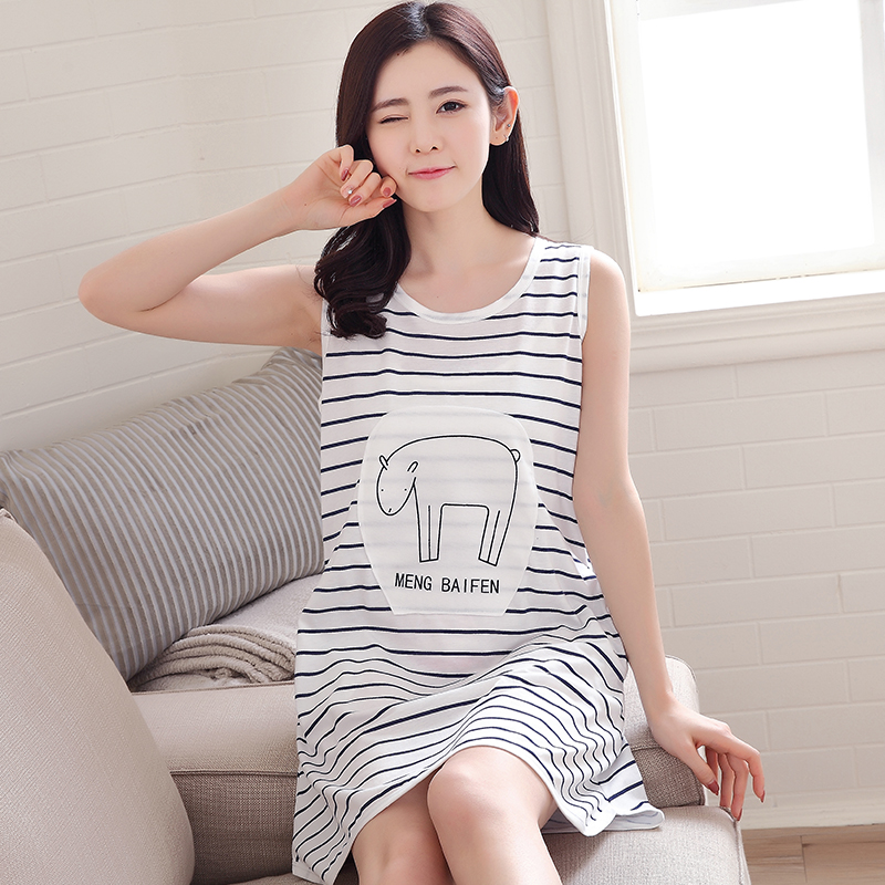 Summer Women's Nightgowns Sleeveless 100% Cotton Dress Cute Girls Plus Size XXXL Sleepwear Cartoon Striped Printed Sleepwear