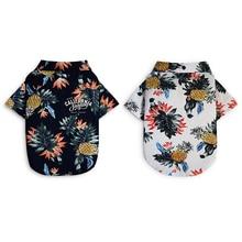 Ropa de algodón para perros, Chaleco de playa de verano de manga corta para mascotas, camiseta Floral, Tops Hawaianos para perros pequeños y Grandes, Chihuahua