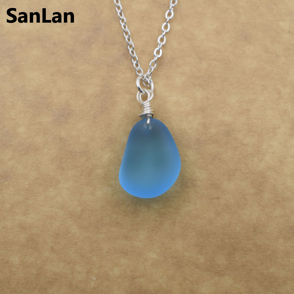 SanLan 1pcs  handmade 12-16mm blue color Sea glass necklace  seaglass, beach glass