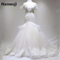 2016 Real Photos Cap Sleeve Crystals Rhinestones Organza Wedding Dresses Bridal Gown