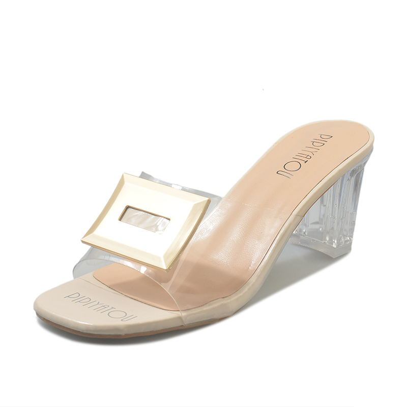 Transparent Slippers Mules Slides Summer Women Shoes Metal Buckle Peep Toe Square High Heels Clear Slippers Ladies Shoes WomanTransparent Slippers Mules Slides Summer Women Shoes Metal Buckle Peep Toe Square High Heels Clear Slippers Ladies Shoes Woman