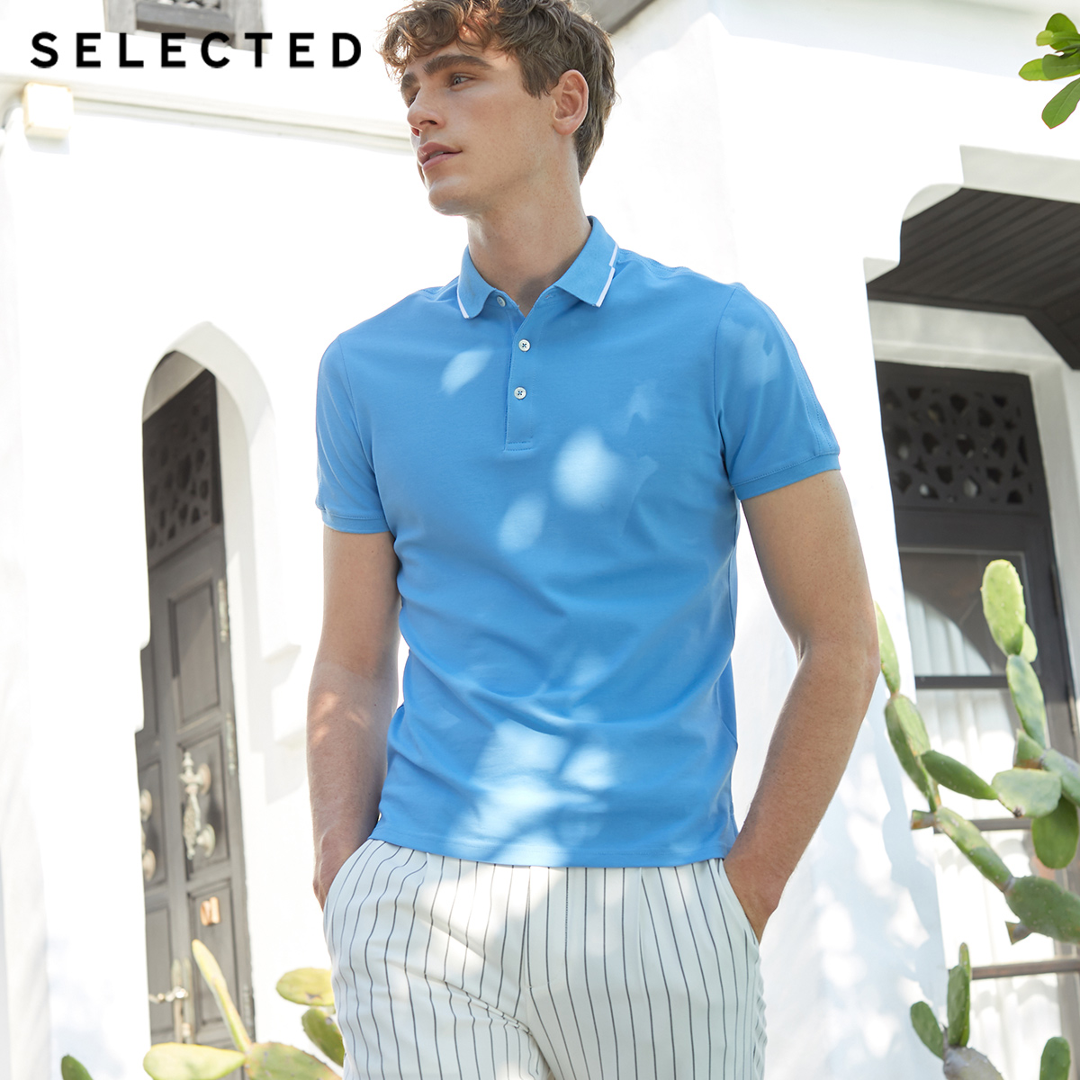 SELECTED Men's Summer Assorted Colors Turn-down Collar Short-sleeved Poloshirt S|419206551