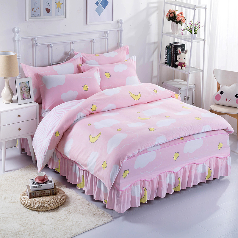 Fashion Elegant Breathable Pink Cotton Bed Bedding Soft And Comfortable Four Sets Duvet Cover + Bed Skirts + Pillowcase
