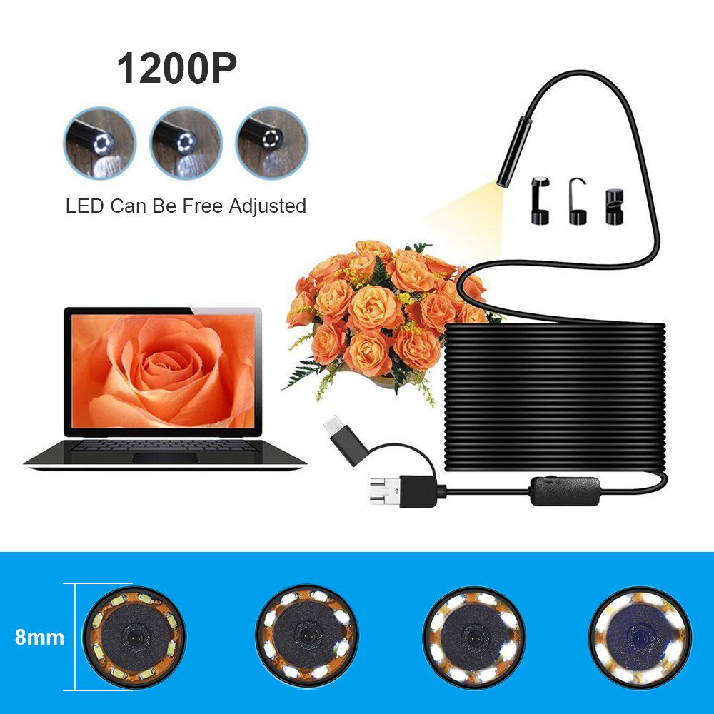 Portable 2/5/10m 3 in1 USB/TYPE-C Snake Endoscope Inspection 8 mm Camera 8 LED IP68 Endoscope for Android PC