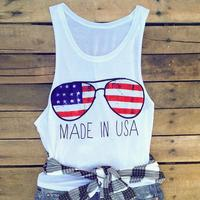 2017 Women American Flag Glasses Tank USA Independence Day Vest O Neck Female Casual Loose Sporting