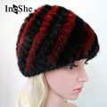 IneShe Women's Winter Hats With Natural Real Fur Female Cap Mink Fur Real Knitted Pineapple Caps Hold Ears Mink Fur Hat M3001