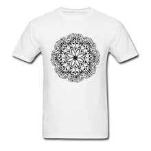 100% Cotton Men Skull Mandala Top T-shirts Birthday Tops & Tees 2018 Fashion Party Crewneck Tops & Tees Funny Classic Tshirt(China)