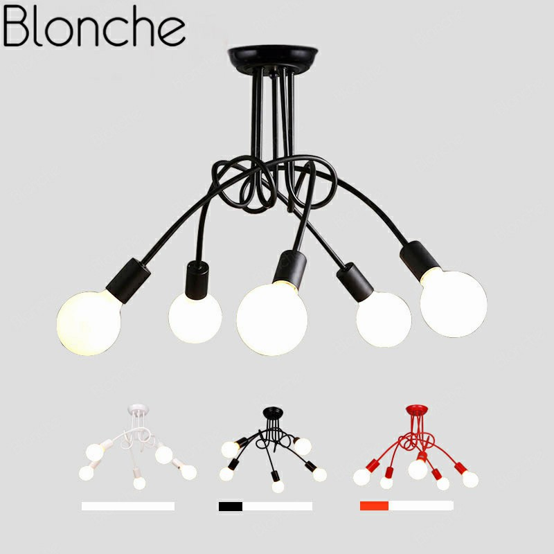 Us 34 89 35 Off Retro Lamp Wrought Iron Art Chandelier 3 5 Heads Ceiling Lights For Indoor Decor Living Room Restaurant Cafe E27 Loft In