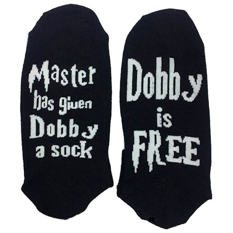 Fashion Unisex Master Has Given Dobby A Socks HP Dobby Is Free Sock Cotton Socks Print Letter Cute Meia Funny Socks