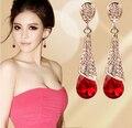Pendientes de cristal austriaco largo rojo caliente de la nueva manera 2015/coreano de lujo de la boda accesorios/brincos/boucle d'oreille/bijoux femme
