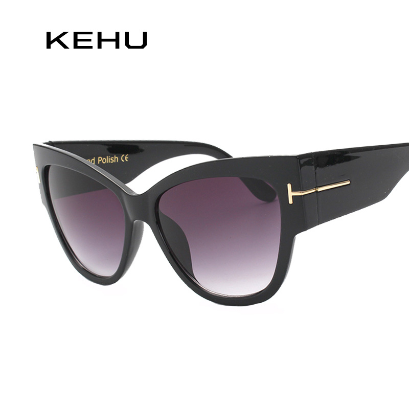 KEHU New Fashion Cat Eye Sunglasses Women Oversized Steampunk Vintage Sun Glasses For Ladies Retro Brand