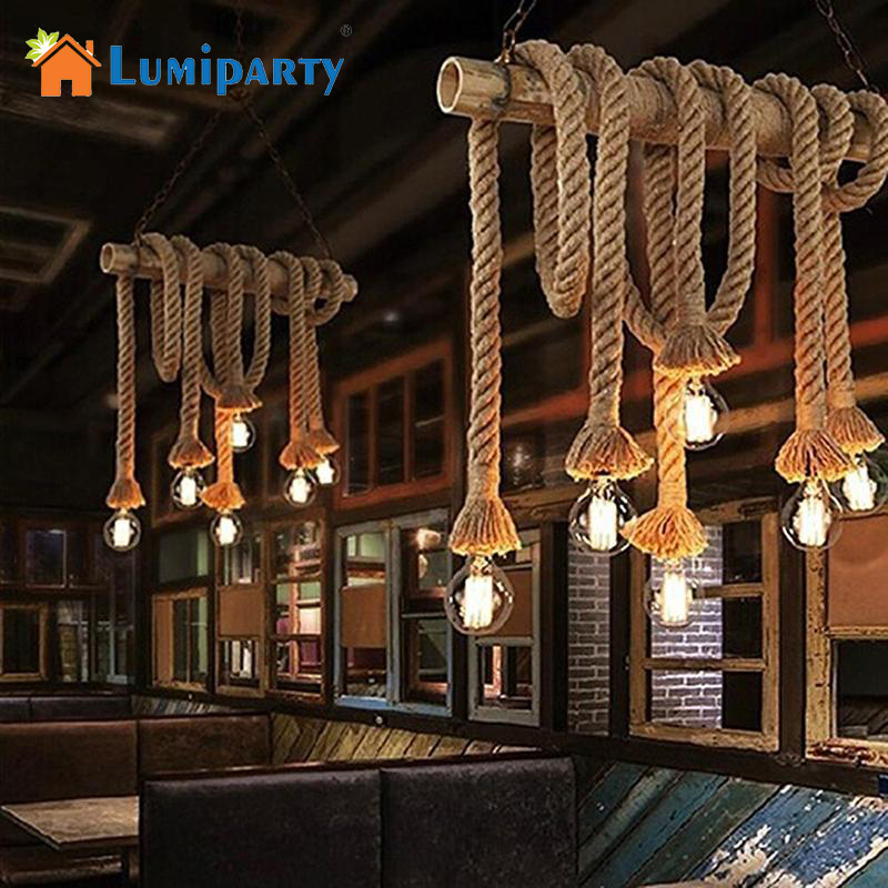 LumiParty Vintage Hemp Rope Ceiling Chandelier Creative Pendant Lamp Hanging Lights For Living Room Bar Public Places Decor