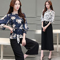 Elegant 2 Piece Set Women Workwear Costumes for Women Floral Lily Loose Chiffon Shirts women tracksuit clothing set conjunto
