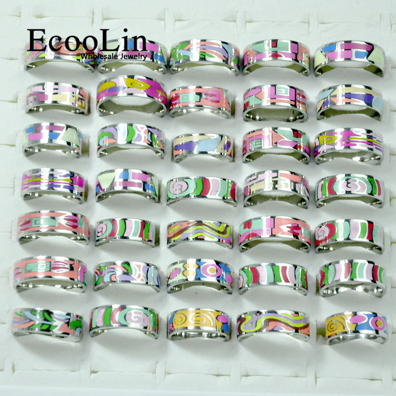 10Pcs EcooLin Brand Fashion Enamel Painted Stainless Steel Rings For Women Jewelry Lots Bulk LR4031
