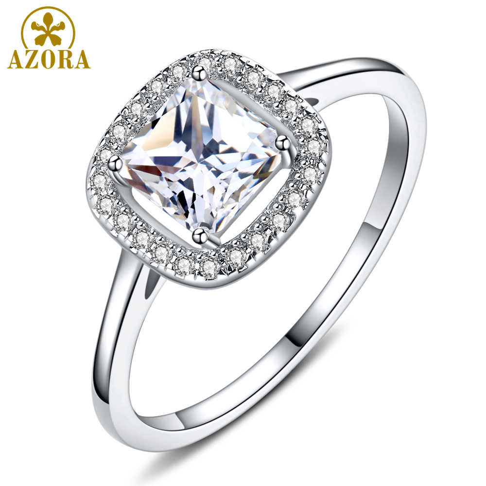 AZORA สีขาวทองสีเรขาคณิตแหวนสแควร์ตัดชัดเจน Zirconia แหวนนิ้วมือเครื่องประดับหมั้นแต่งงาน TR0230