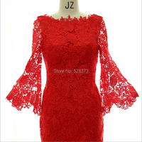 YNQNFS MD4 Real Photos Mermaid Tight 3/4 Sleeves Tea Length Mother of the Bride/Groom Lace Dresses Outfit Red