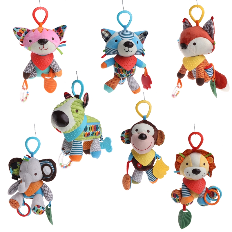 Baby Rattle Bell Pacify Dolls Infant Crib Stroller Hanging Animals Toy Sep6-B