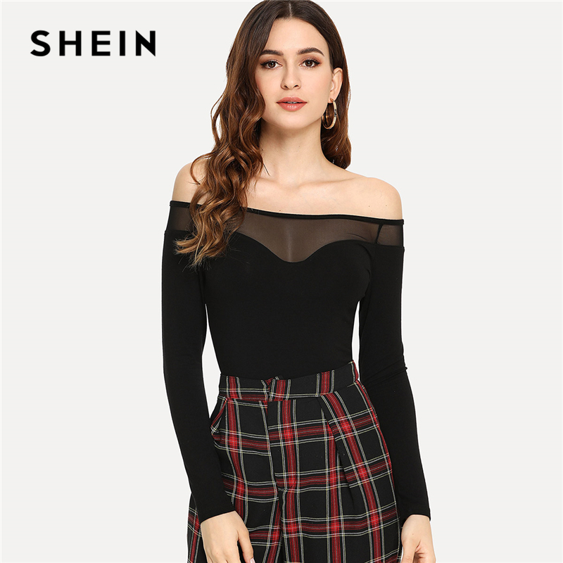 SHEIN Black Elegant Office Lady Off Shoulder Mesh Contrast Long Sleeve Solid Sexy Tee 2018 Autumn Workwear Women Tshirt Top