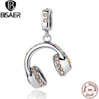 Genuine 925 Sterling Silver Headset Earphone Earpiece Pendants Fit Pandora Bracelet Necklace Party DIY Fine Jewelry Making
