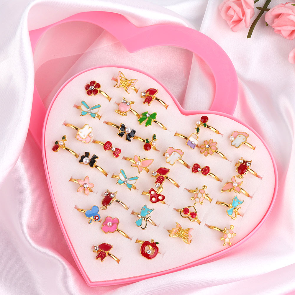 36 Piece/Set Cute Love Kids Rings Sweet Design Flower Animal Finger Rings  For Baby Girls Fashion Jewelry Accessories Gifts