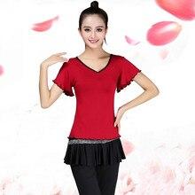Latin Dance Dress Square Dance Dress New Set Speaker Flute Sleeve Dresser Adult Adult Dance Performance Dress