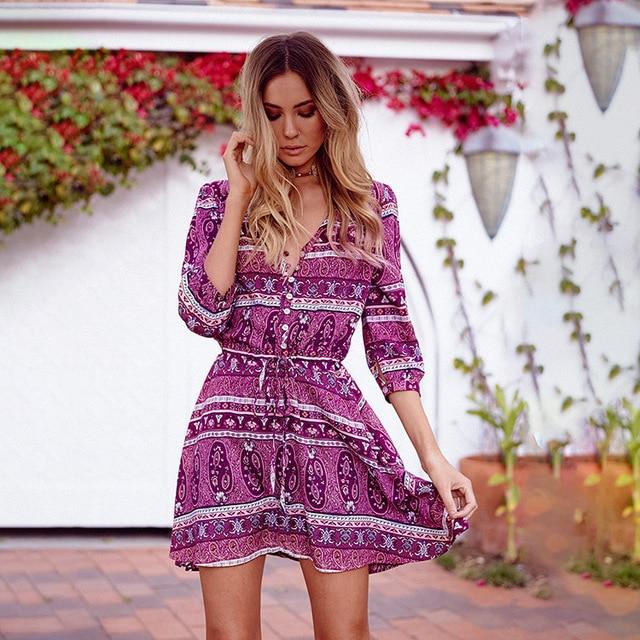 Women Casual Flower Print Bohemia Dress  Women's Summer Dresses Beach Wear Tube Dress Ladies Beachwear Dresses