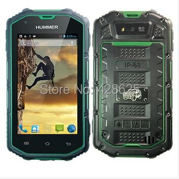 Original Hummer H5 IP68 Waterproof Phone MTK6572 Dual Core IPS Capactive Rugged Android Phone GPS 2400mAh Battery PK Jeep Z6