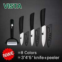 High Quality Zirconia Ceramic Kitchen Knife Set Fruit Carving Knives 4pcs 3 4 5 Peeler Covers