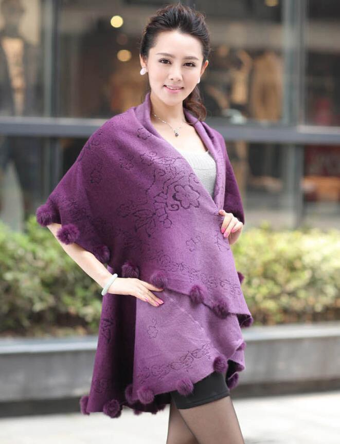 Winter Women Oversized Knitted Cashmere Poncho Capes Rabbit Fur Shawl Sweater Long Cardigan Feminino Knitwear Sweater